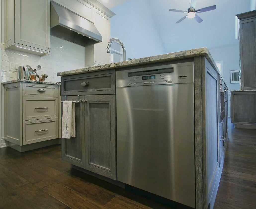 cerused white oak, kitchen, island, stainless steel appliances