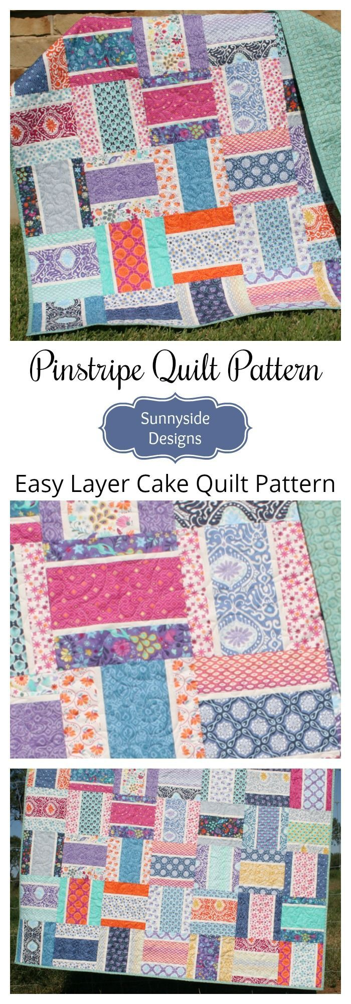 Pinstripe Quilt Pattern - Layer Cake Friendly | Layer cake quilt ... : layer cake friendly quilt patterns - Adamdwight.com