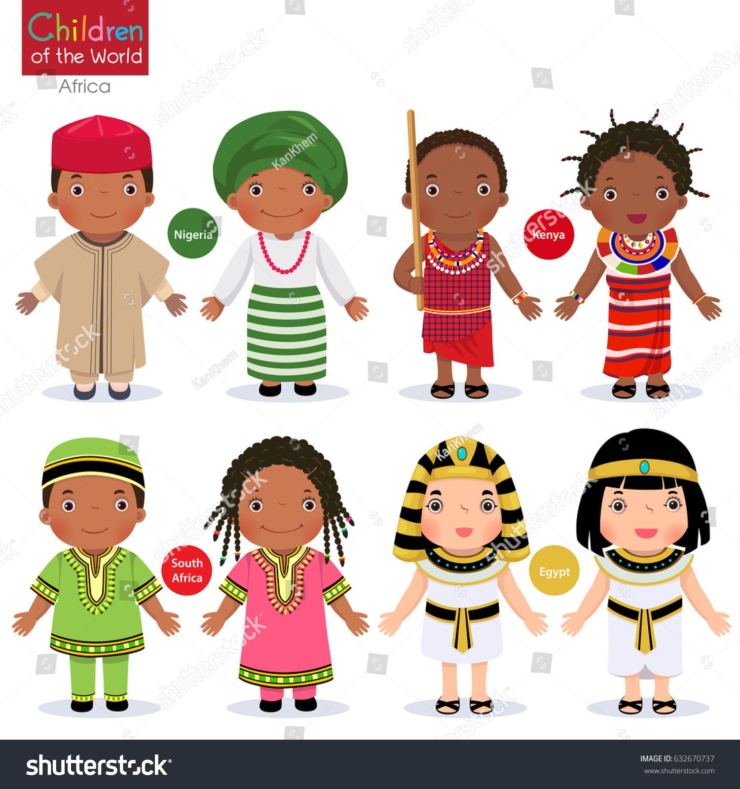 Kids In Different Traditional Costumes Nigeria Kenya