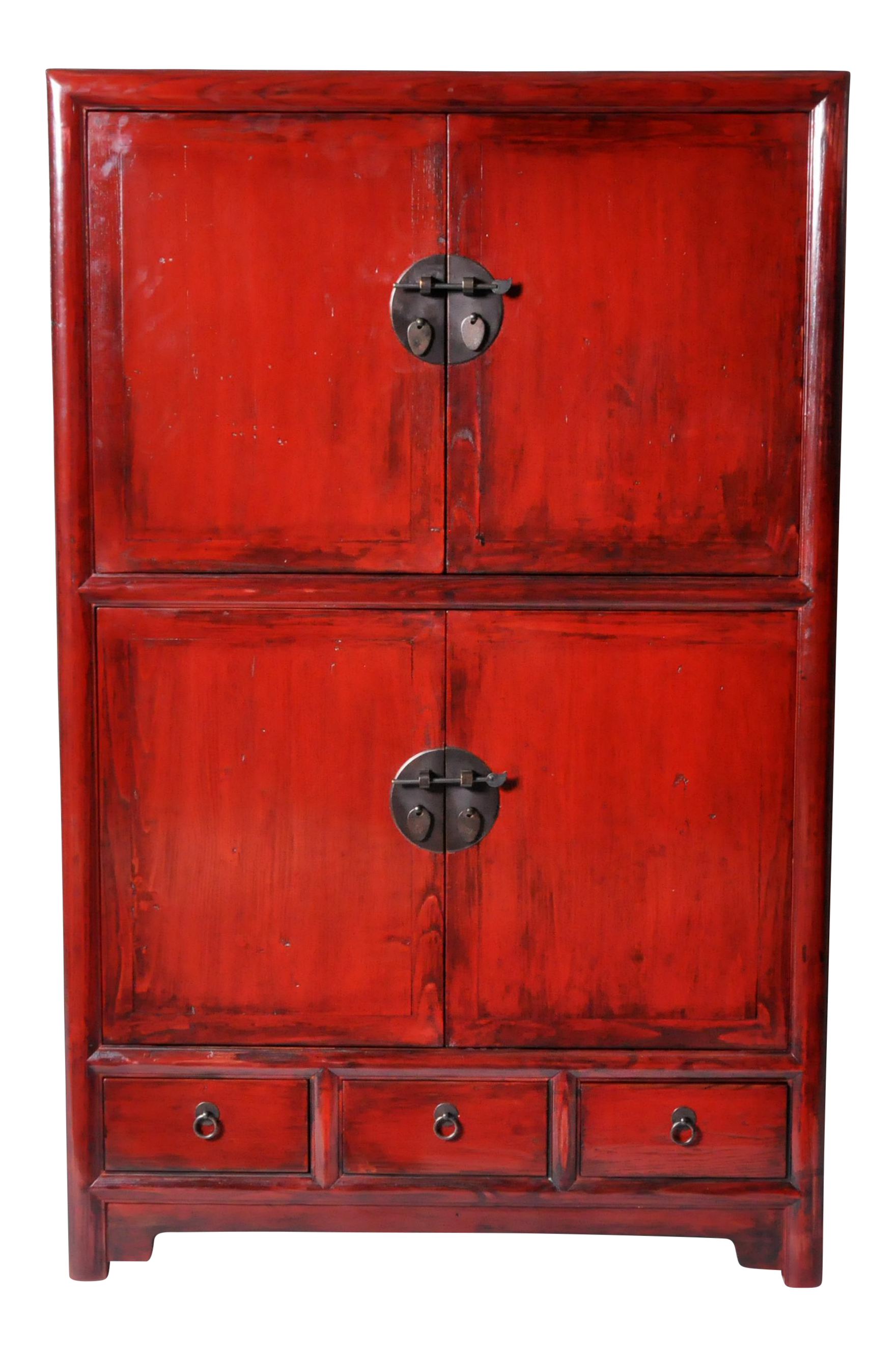 Chinese Red-Lacquered Display Cabinet with Restoration on ...