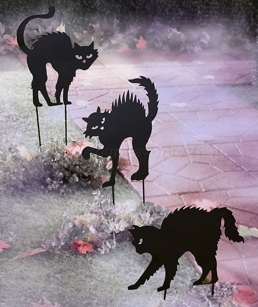 Halloween Yard Stakes.Set Of 3 Cats Spooky Shadow Garden Stakes Halloween Yard Lawn