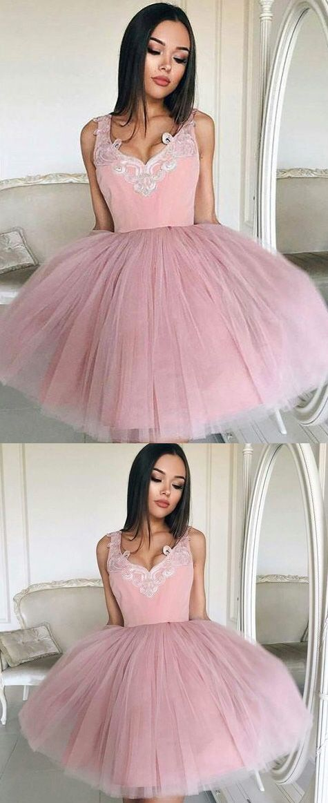 2017 Homecoming Dress Tulle Straps Appliques Short Prom Dress Party ...
