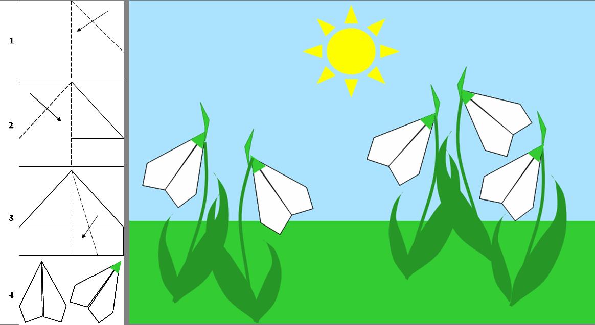 Открытки на 8 марта с подснежниками методом оригами