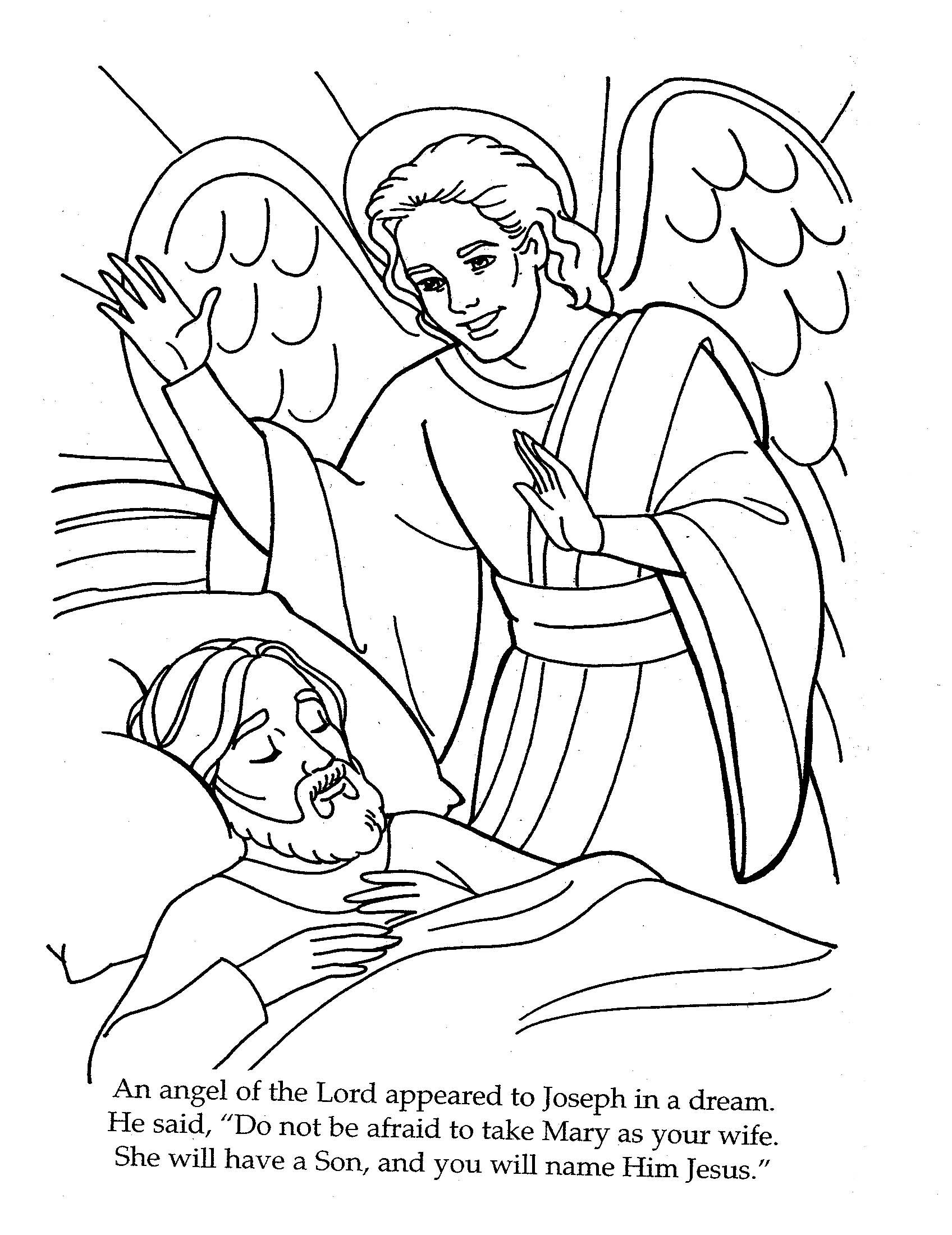 Coloring sheet mary and joseph bethlehem - The Angel Visits Joseph Coloring Page