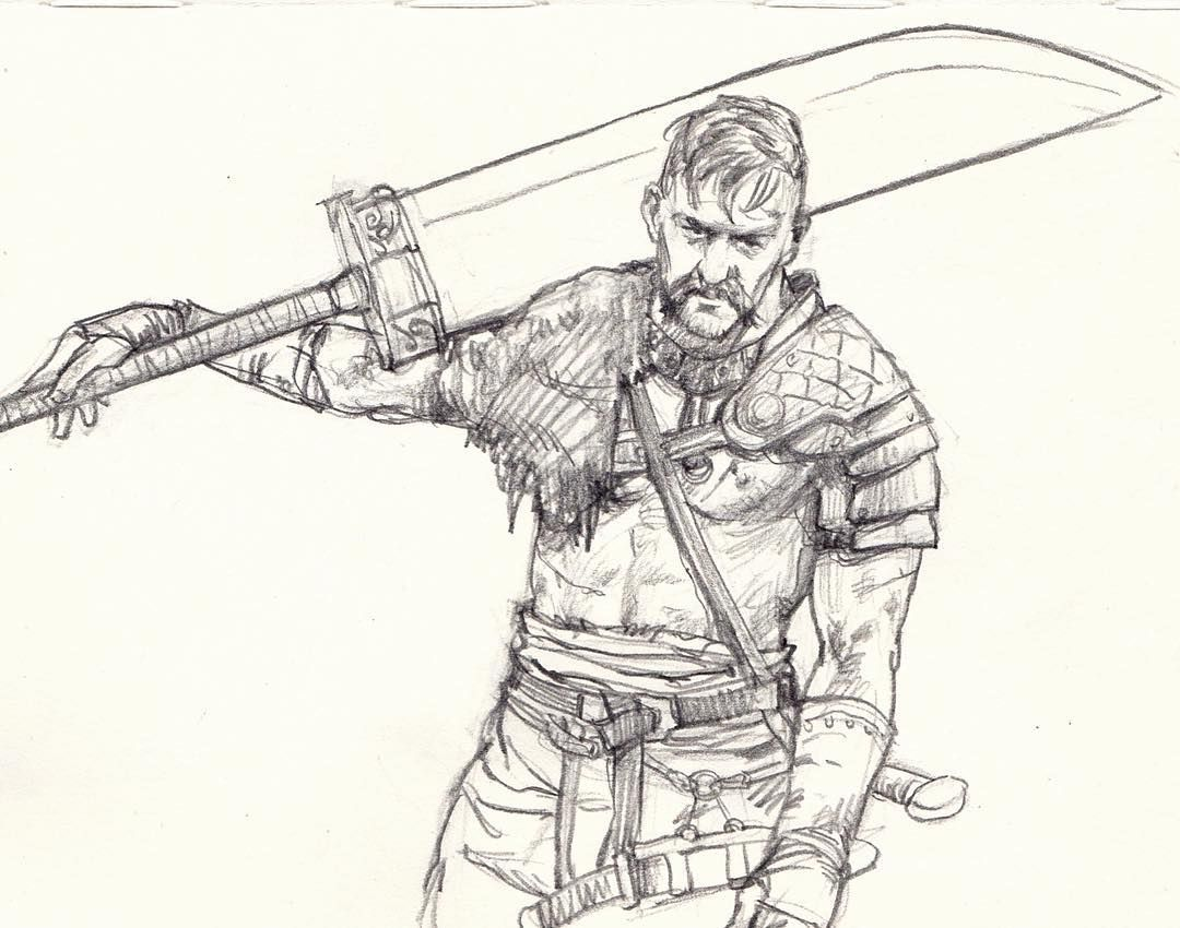 Sketch sketchbook sword big man warriors fighter vikings drawing pencil pencildrawing