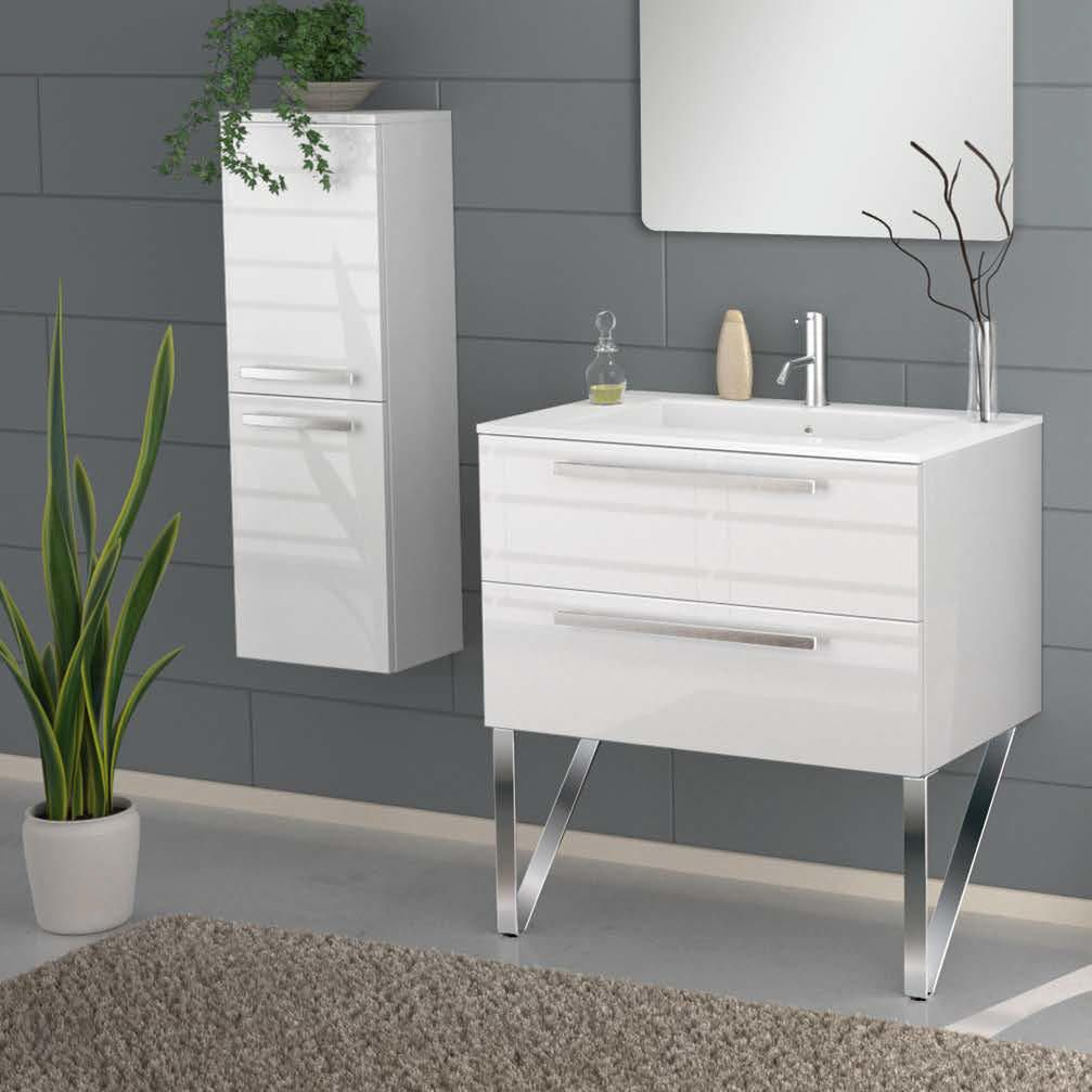 34 Inch Modern Wall Mounted Bathroom Vanity White Glossy Finish