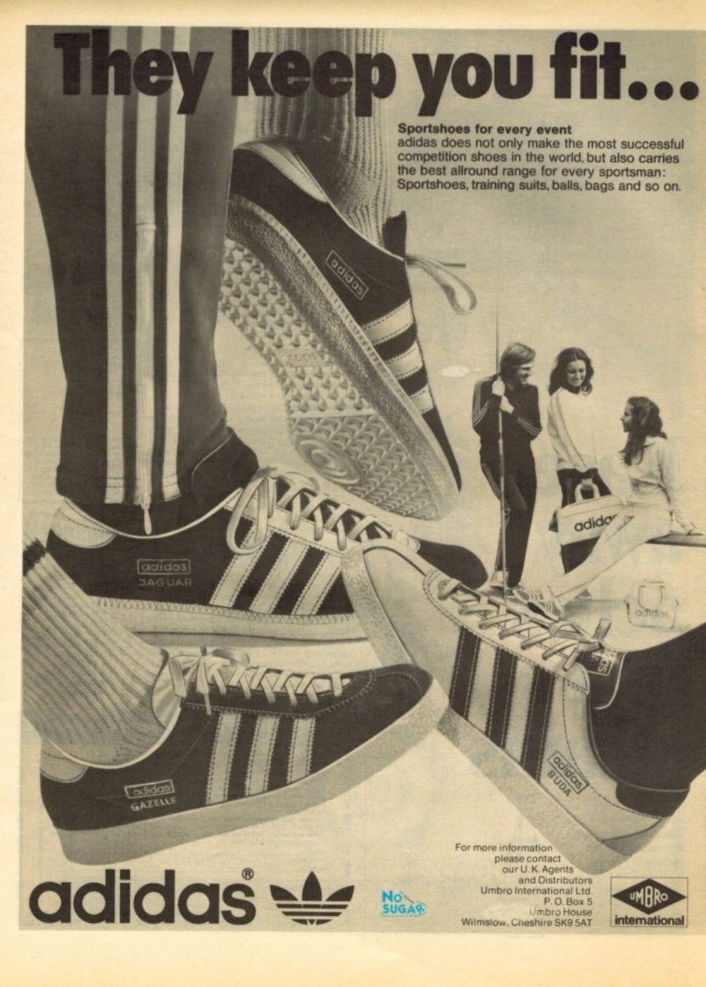 9e309f5e9a85 Wonderful Adidas period advertising from the 70 s showing Gazelles ...