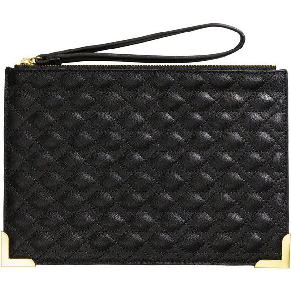 hot sales c08f9 a2f12 H M Quilted clutch (135 ARS) ❤ liked on Polyvore featuring bags, handbags,  clutches, black, h m purses, zipper handbag, zip purse, quilted handbags  and ...