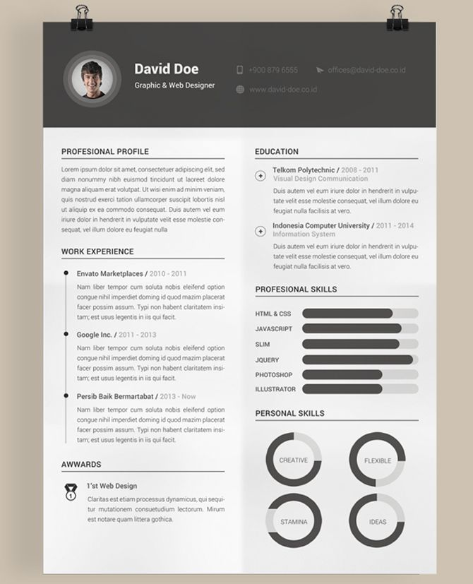 40 Best Free Resume Templates 2017 Psd, Ai, Doc | Free Printable