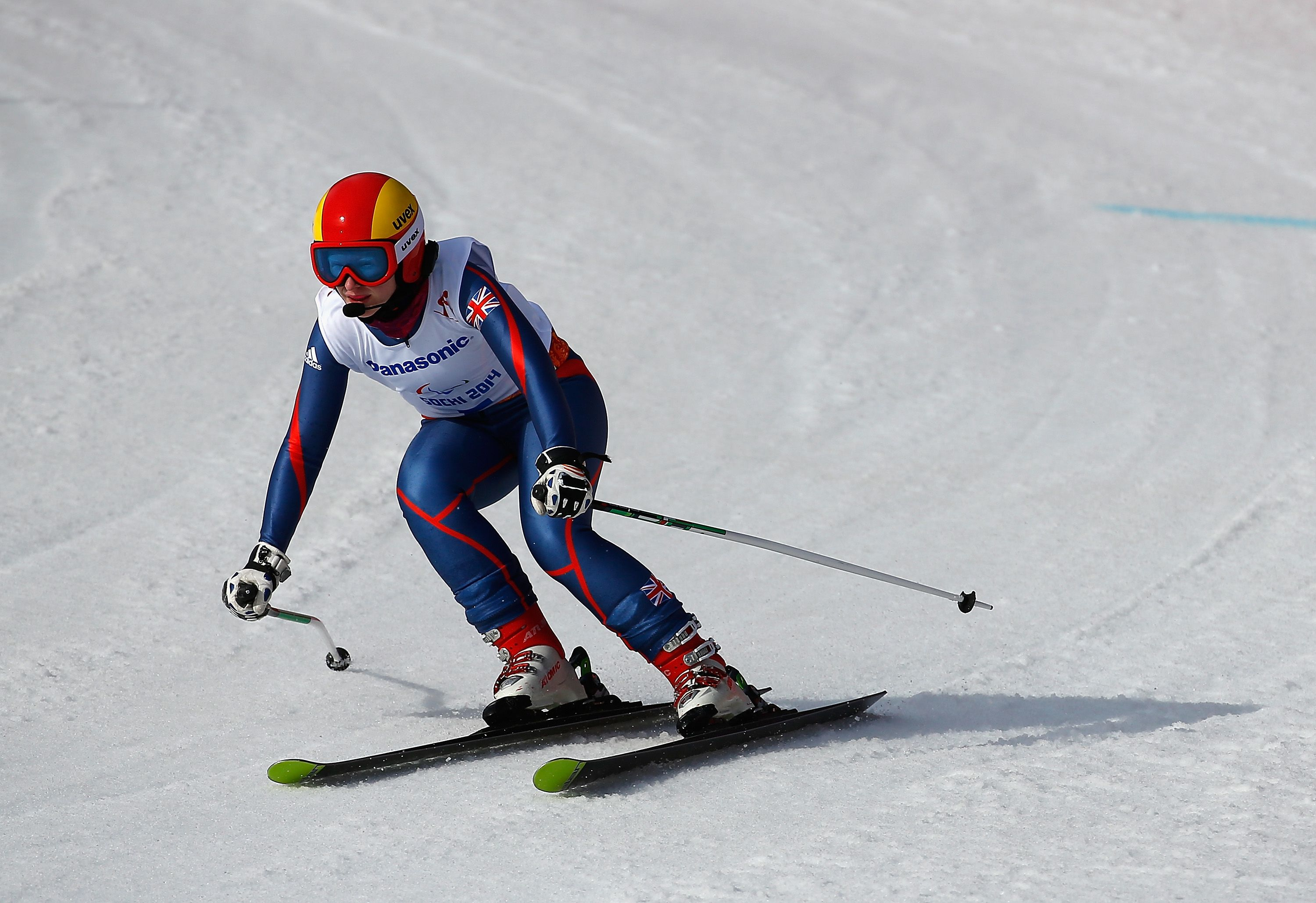 Kelly Gallagher skis in the Womens Downhill in Sochi #GoParalympicsGB
