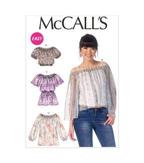McCall's Pattern- M7163-ZZ0 Misses' Tops-L-XL-XXL