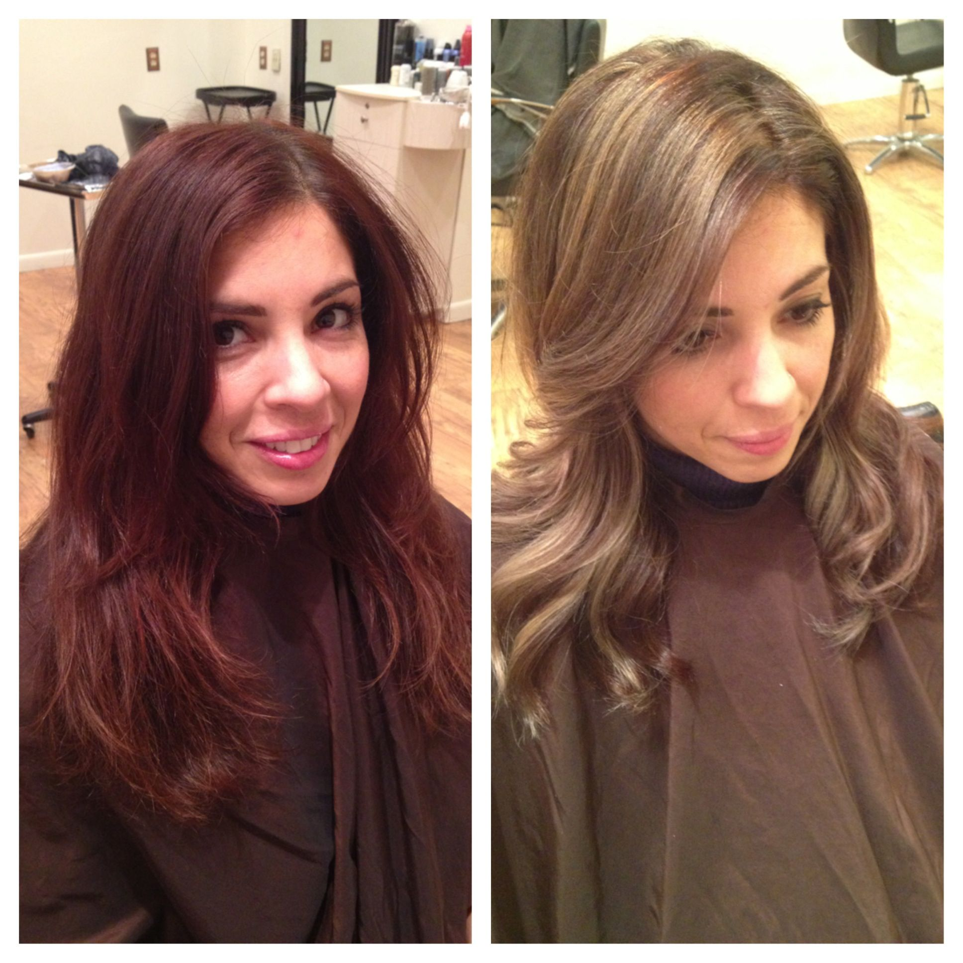 Before and after from dark red to perfect natural brown with ombré