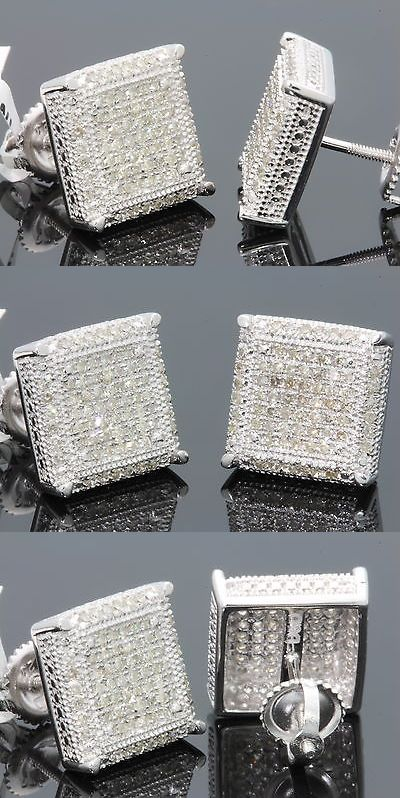 Earrings Studs 14085 62 Carat White Gold Finish Mens Womens 12mm 100 Real