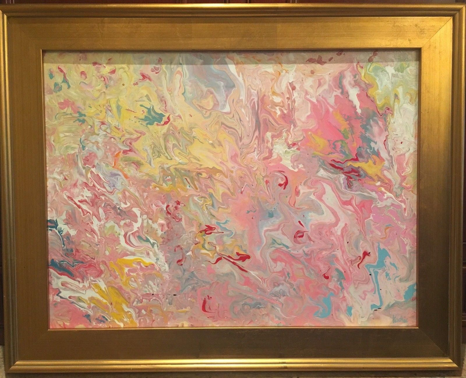 Abstract Pink & Yellow Marbling, Original Acrylic Painting By Artist