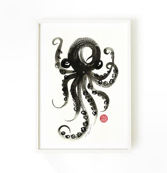 Octopus watercolor art poster octopus ink painting nautical artwork home
