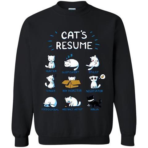 Animal Cats T-shirts Cats Resume Hunter Sleep Expert Stylist - singer resume