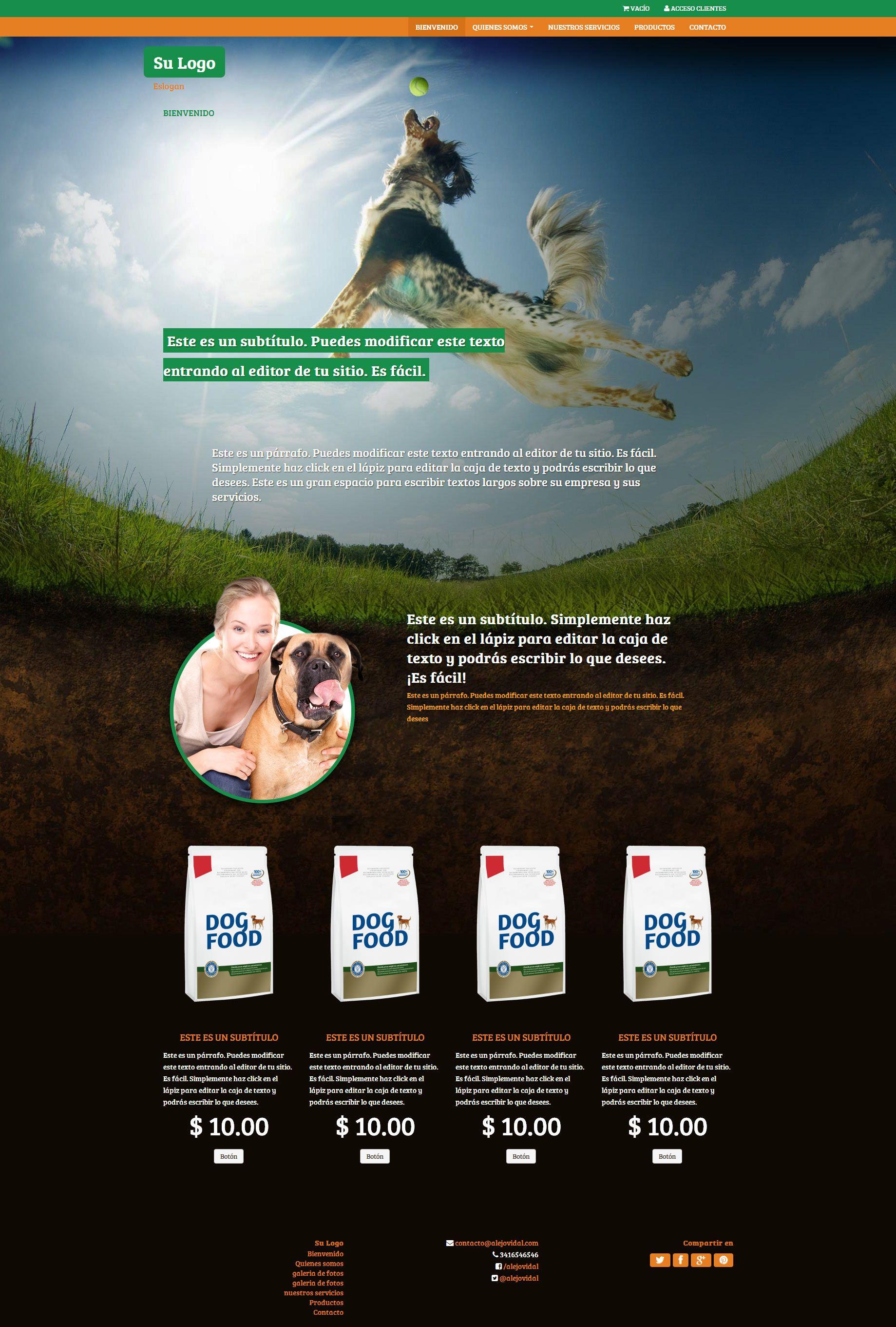 Plantilla Pet shop - Alimento para mascotas | Nubix : Crea tu pagina ...