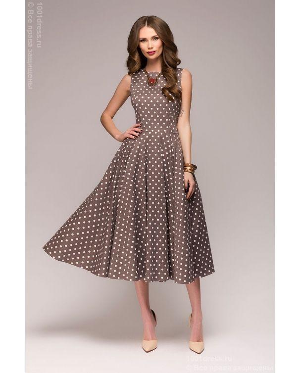 4a495c1adba Бежевое платье в горошек в стиле ретро купить в интернет-магазине 1001 DRESS