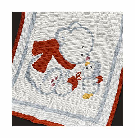 CROCHET Pattern - Baby Blanket Pattern - Bear and Penguin - Crochet ...