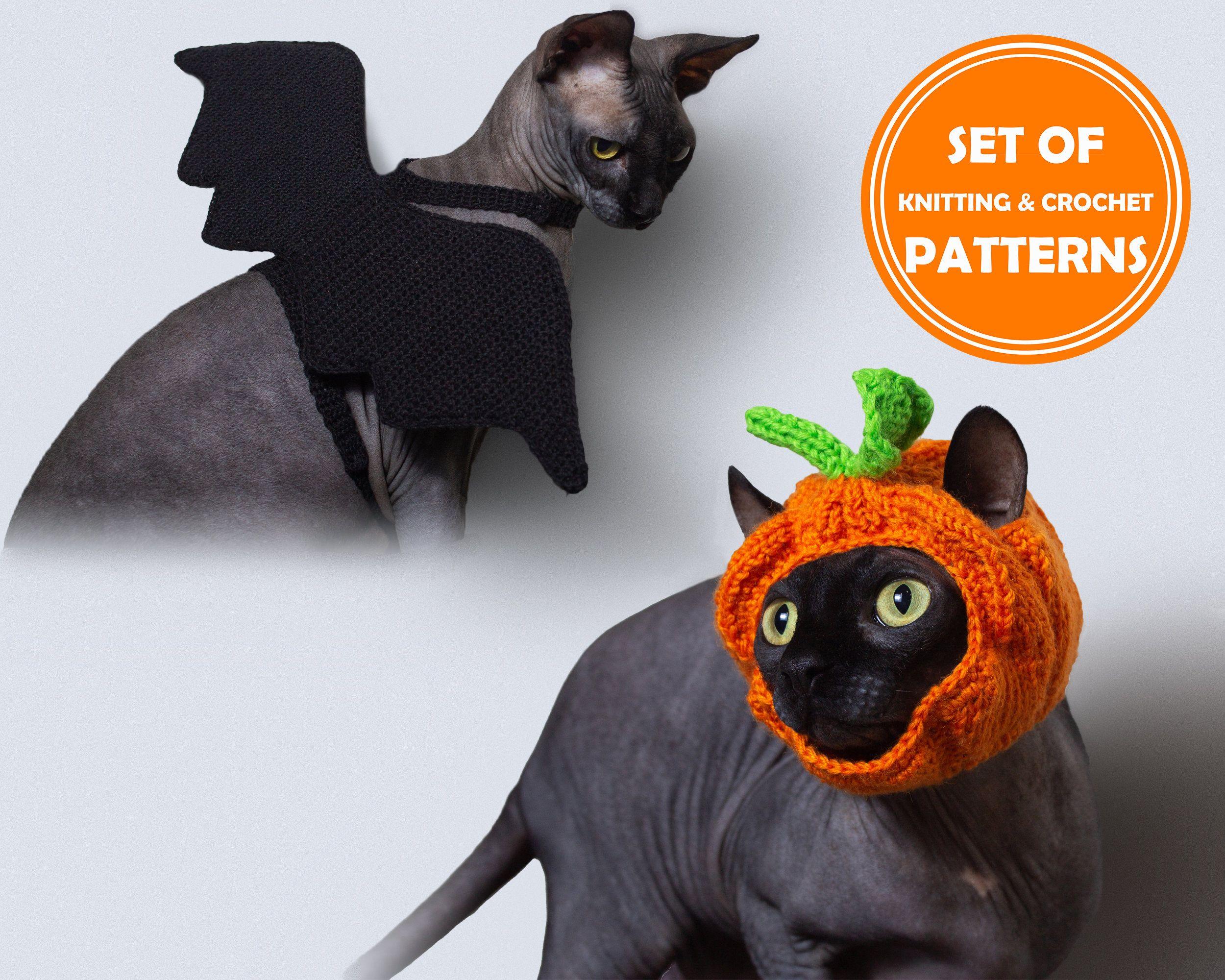 Halloween Set Of 2 Patterns Knitted Cat Pumpkin Hat And Etsy Crochet Bat Knitted Cat Pumpkin Hat