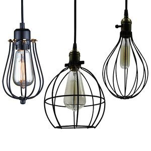 Vintage Industrial Metal Wire Cage Pendant Light Guard Rustic Wall Lamp  Cafe Pub