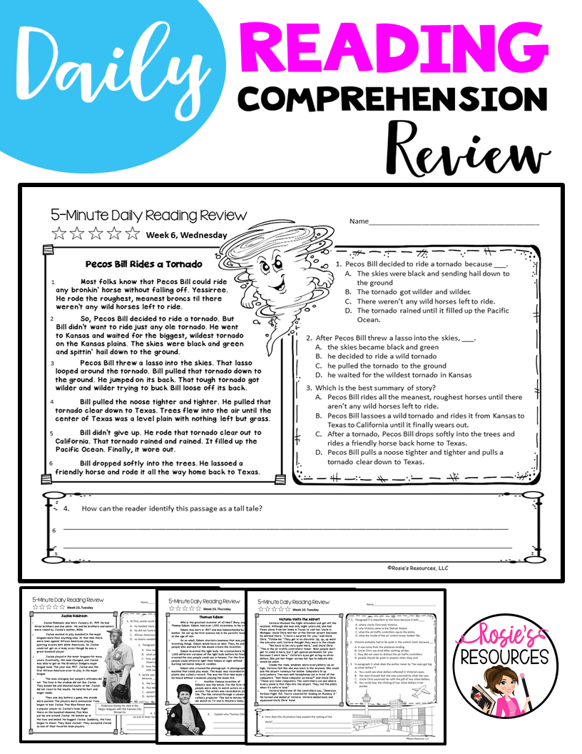 - 4th Grade Daily Reading Comprehension Spiral Reading Bundle
