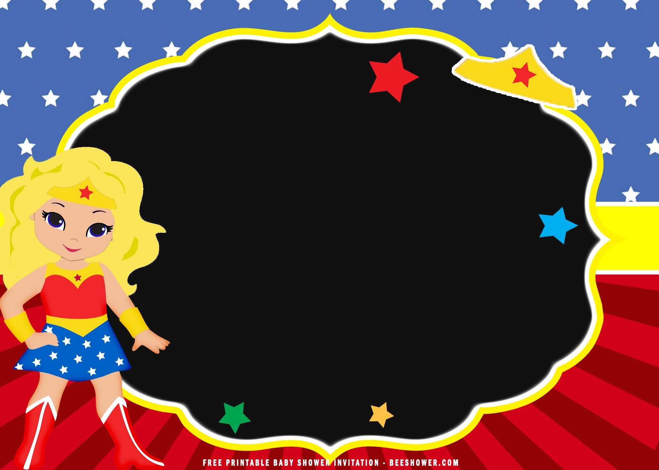 FREE Printable) - Chibi Wonder Woman Birthday Invitation Templates