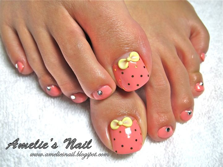 Manacured Toe Nails Gel Overlay On