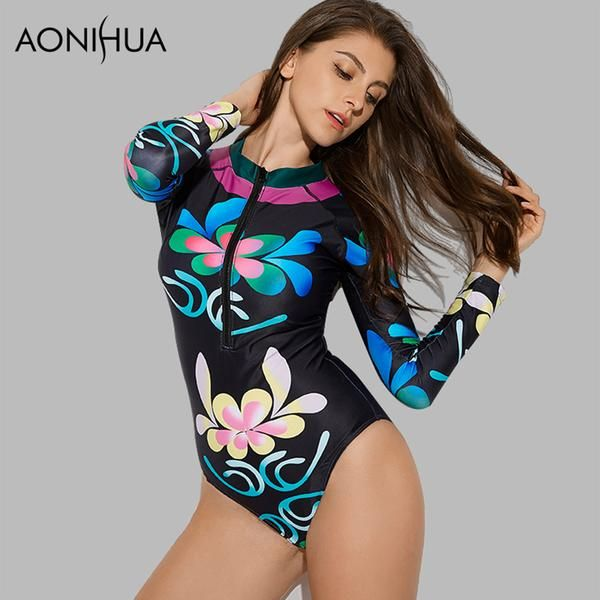 54b7a51b51 AONIHUA Women One Piece Vintage Long Sleeve Front Zipper Swimsuit Black  With Print 9018