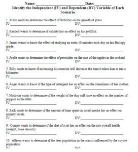Independent and Dependent Variable Worksheet | Biology Teaching ...