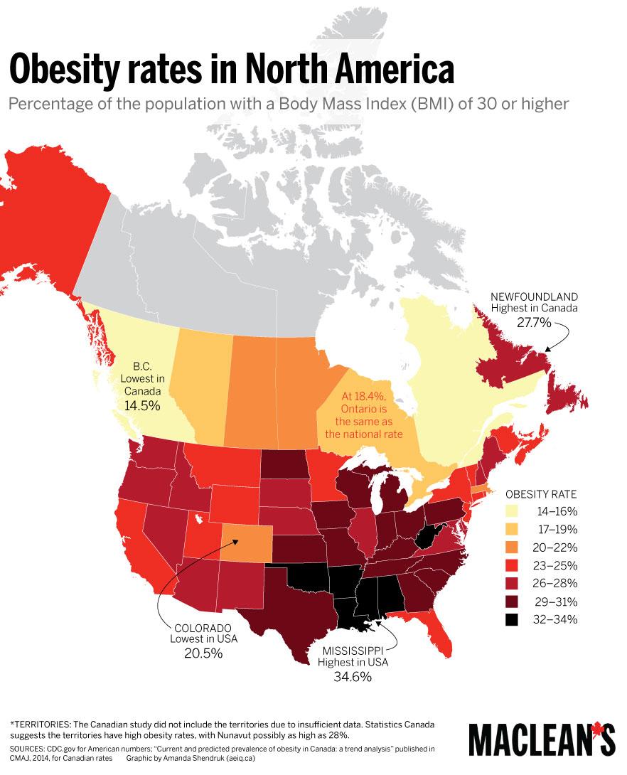 Obesity rates in North America | North america, America, Map on obesity death, obesity in canada, obesity statistics in america, obesity rates in america 2013, obesity states, obesity in us 2012, diabetes trends map, food trends map, flu trends map,