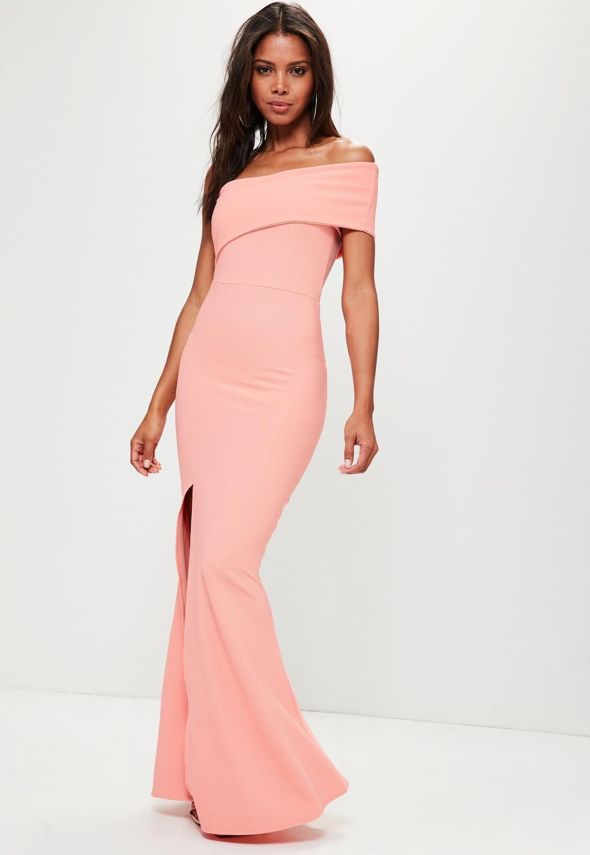 cd7c274882c Missguided - Coral One Shoulder Maxi Dress