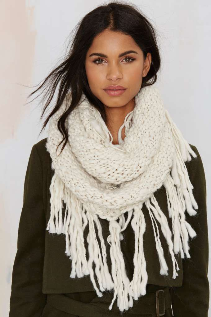 56866a2320 Fringe With Benefits Infinity Scarf - White - Scarves + Gloves ...