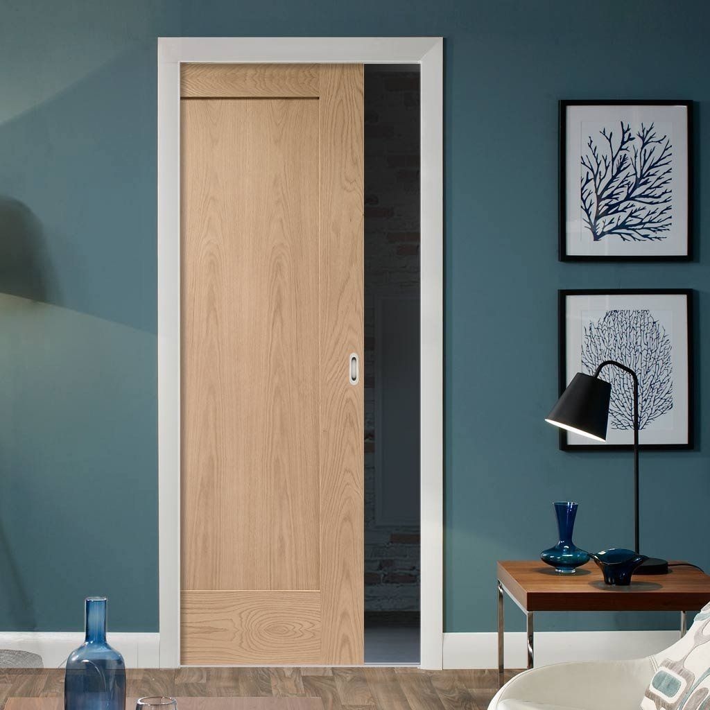 Pattern 10 Oak 1 Panel Single Evokit Pocket Door Oak Doors Pocket Doors Internal Sliding Doors
