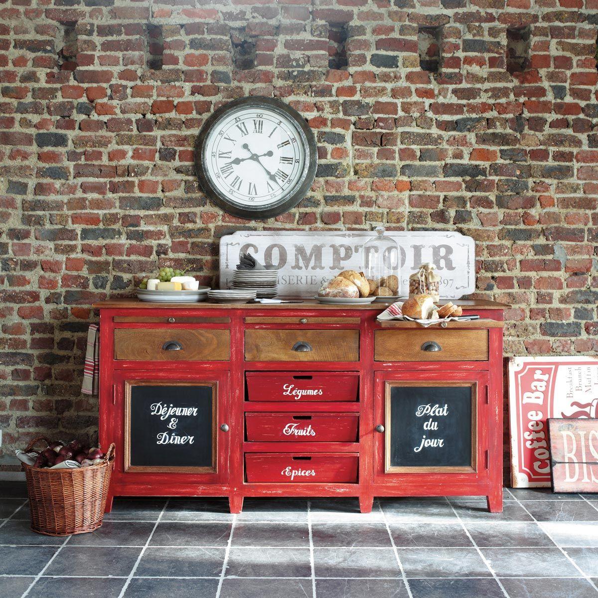 Mango Wood Sideboard In Red W Cm Bistrot Maisons Du Monde - Maison du monde meuble de cuisine pour idees de deco de cuisine