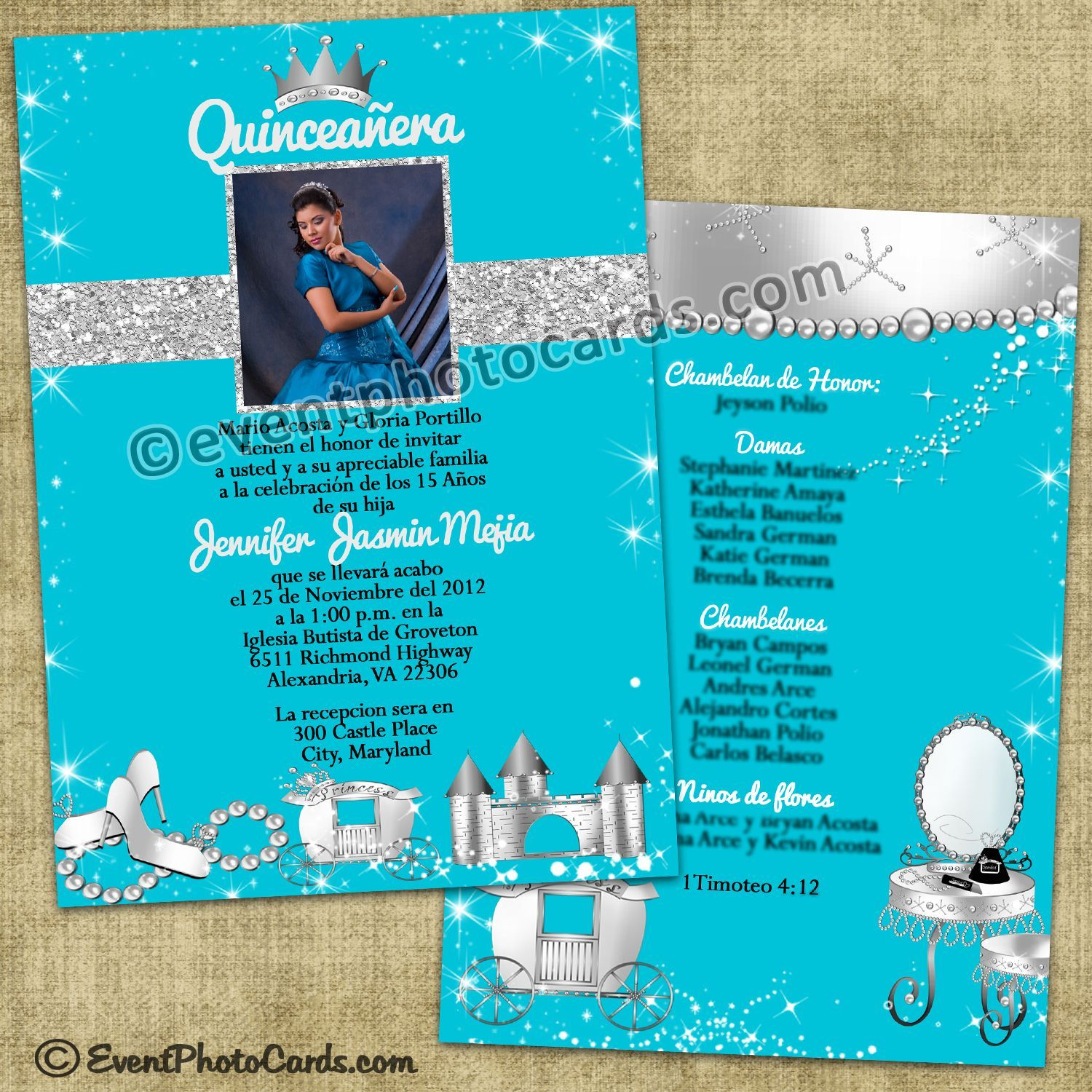 17 Best images about Princess Quinceanera Invitations on Pinterest ...