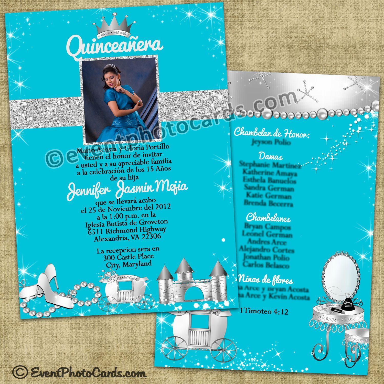 Turquoise princess quinceanera invitations princess quinceanera turquoise princess quinceanera invitations stopboris Choice Image