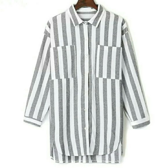 Grey and White Striped Button-down Shirt | Neckline, Cotton and Gray