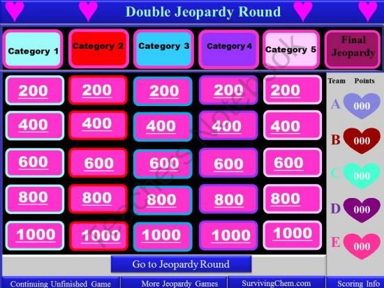 Valentines Day Theme Interactive Jeopardy template with timer - scoreboard template