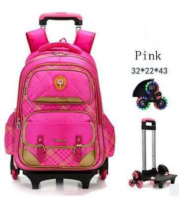 21c2c5ab9e47 Fashion flash 2 6 Wheels Girls Waterproof School Bag Boy Backpack Trolley  Bag Children School Bags Kids Wheeled Bags Girls Backp