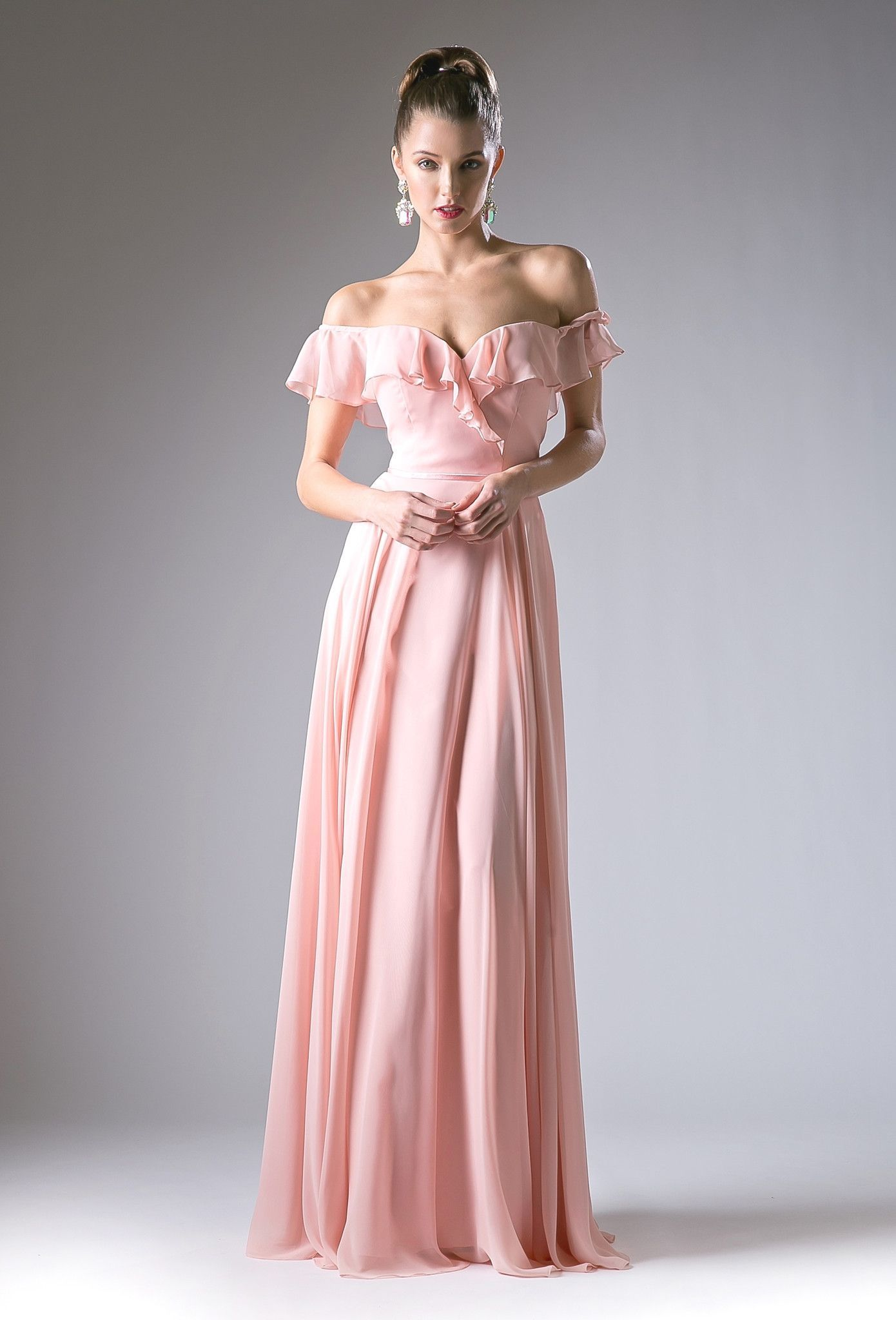 Long ruffled off the shoulder dress by cinderella divine cj in