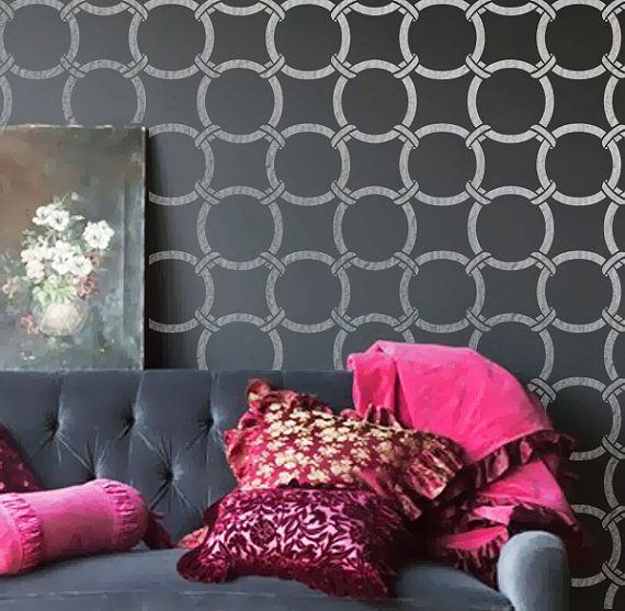 Wall Stencil  Circles Geometric Pattern Wall Room Decor Made by OMG Stencils Home Improvements Color Paintings 0046