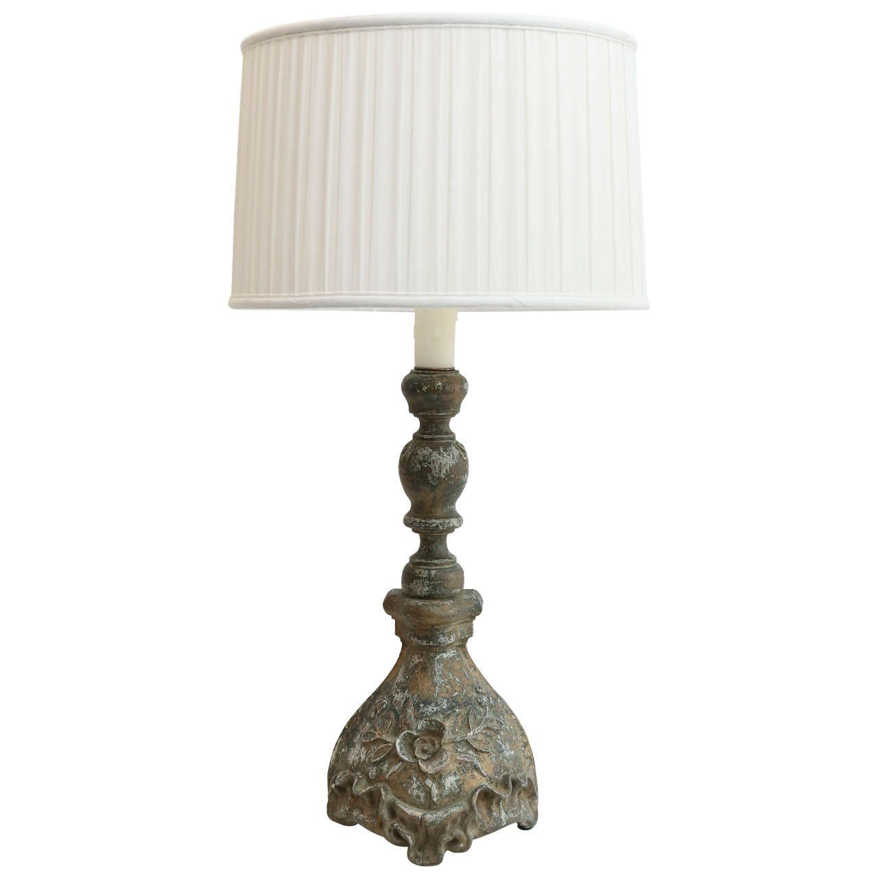Late 19th century carved candlestick as custom table lamp late 19th century carved candlestick as custom table lamp geotapseo Gallery