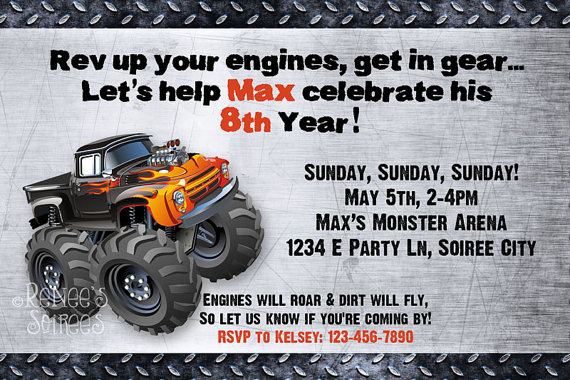 photograph regarding Monster Truck Birthday Invitations Free Printable identified as MONSTER TRUCK Birthday Invitation - Printable Invite