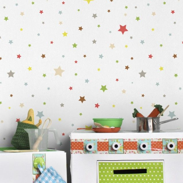 Vlies Tapeten Kinderzimmer | Mustertapete Fur Kinderzimmer No Yk34 Bunte Sterne Vliestapete