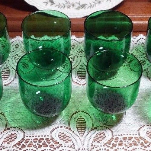 8  Holiday Vogue In Emerald By Lenox, Barware, Green Wine Glasses, Marked