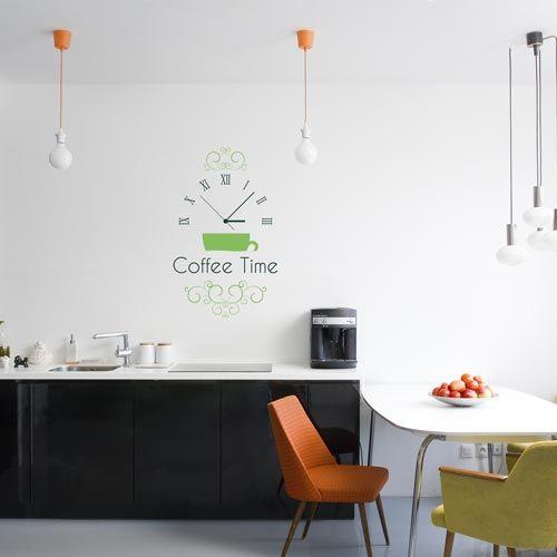 vinilo decorativo que puede servir como reloj de pared para la cocina http