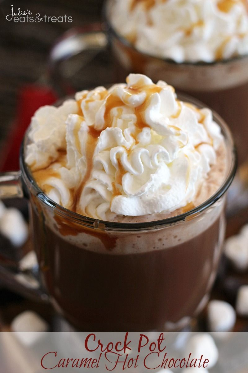 Slow Cooked, Rich, Hot Chocolate Loaded with Caramel and Topped with Whipped Cream and Caramel!