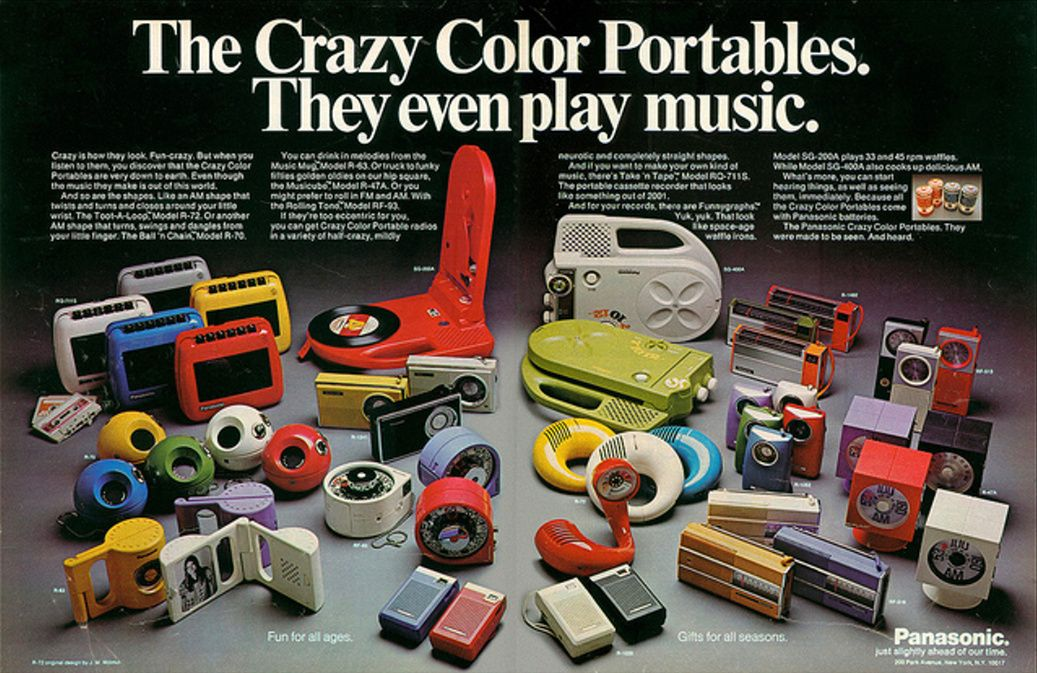 The Crazy Color Portables from Panasonic, 1973.