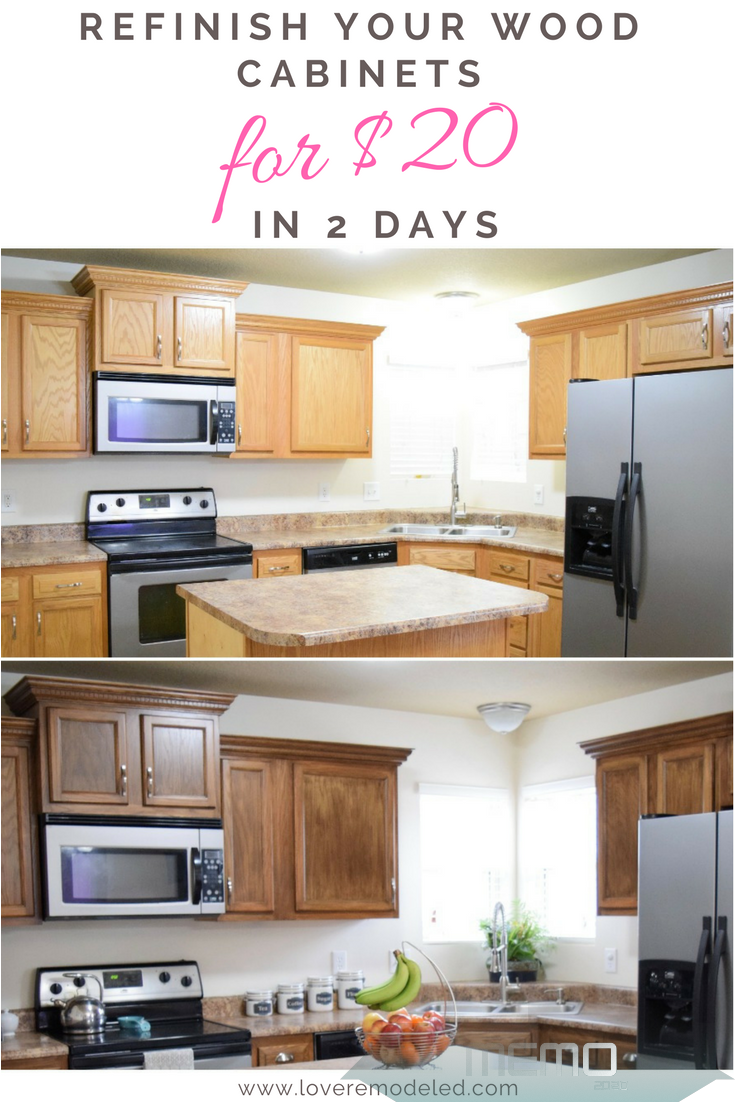 Jun 28 2019 Do You Want To Refinish Wood Cabinets Without Stripping Them Here Is How In 2020 Stained Kitchen Cabinets Refinishing Cabinets Wooden Kitchen Cabinets